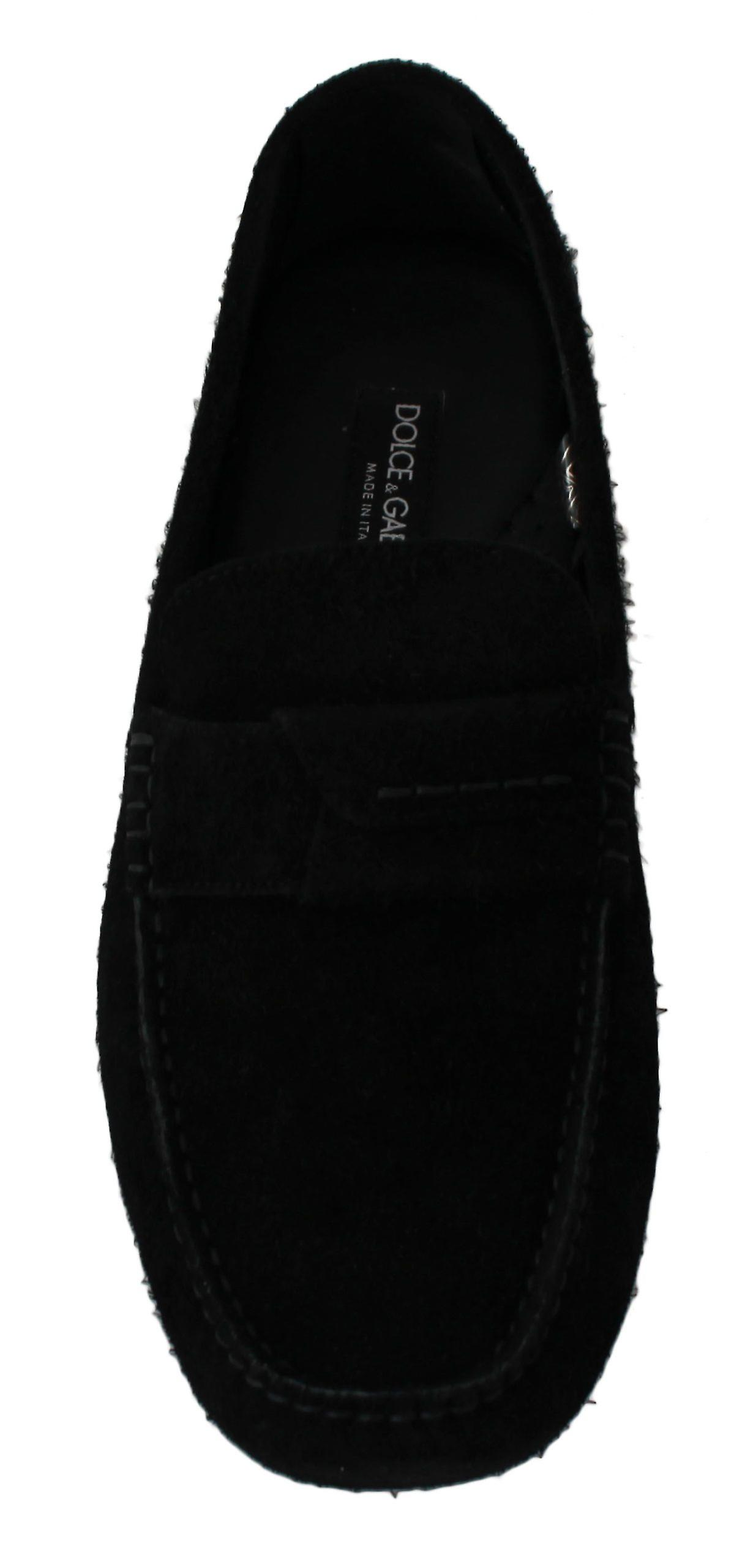Dolce & Gabbana Black Suede Flat Loafers Slip Ons Shoes Mv2507-45