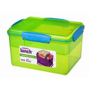 Sistema 2.3L Lunch Tub with Removable Multi Compartment Tray, Green