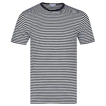 Sunspel White & Navy Stripe Short Sleeve Crew Neck T-Shirt