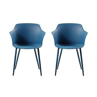 Chaise couronne en métal bleu foncé, PP 53x59x81,5 cm