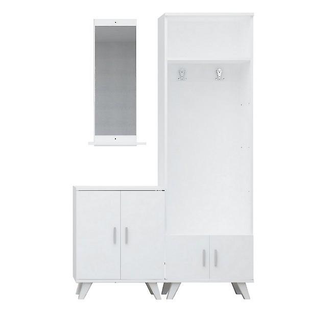 Entrée mobile Yakut Couleur Blanc en puce, Plastique, Métal 30x12x90 cm, 60x35x194 cm, 60x35x76 cm