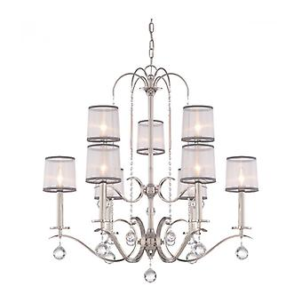 Whitney Chandelier, Imperial Silver, White And Gray Organza, Crystal Decor, 9 Lumières
