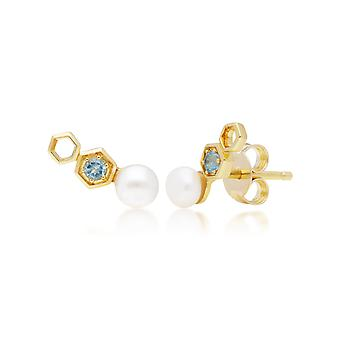 لؤلؤة و الأزرق توباز الأذن المتسلق في 9 قهّة الذهب الأصفر 135E1632019