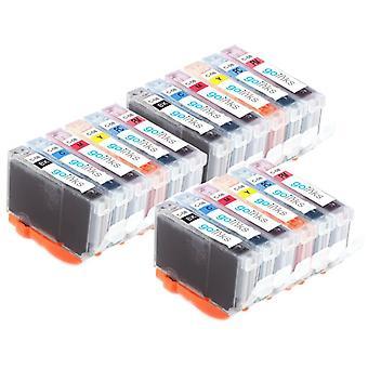 3 6 mustekasettia Canon CLI-8 -yhteensopivan/muun kuin OEM-laitevalmistajan tilalle Go Inksistä (18 mustetta)