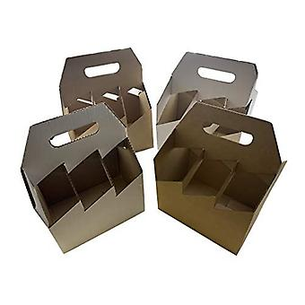 250mm x 165mm x 320mm | Brown Cardboard 6 Bottle Wine Carrier | 10 Pack