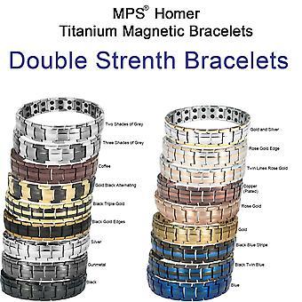 Bracelet magnétique MPS® pour hommes, habituellement acheté pour l'arthrite Douleur Relief Health Titanium Magnet Therapy Bracelet, HOMER avec outil de redimensionnement
