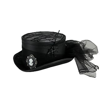 Ladies Black Lace Costume Riding Hat with Tulle Bow and Cameo Brooch