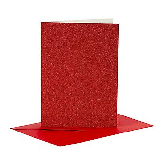 4 Red Glitter A6 Cards and Envelopes for Card Making Crafts | Card Making Blanks