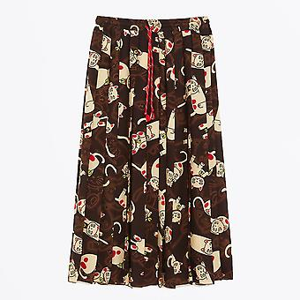Ottod'Ame - Maneki Neko Long Cat Print Skirt - Brown