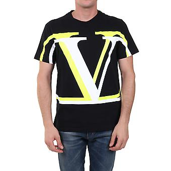 Valentino Uv3mg08c6k7pm6 Men's Sort Bomuld T-shirt
