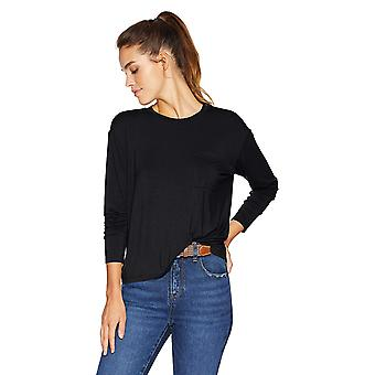 Brand - Daily Ritual Women's Jersey Long-Sleeve Boxy Pocket Tee, Black...