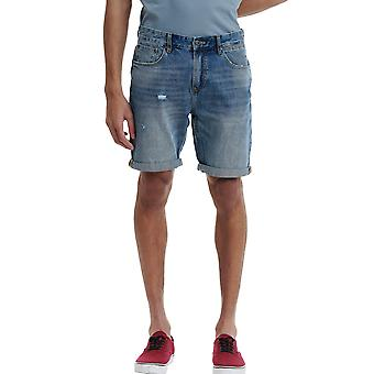 Funky Buddha Men's Denim Shorts With Washed Effects