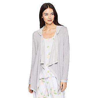 Brand - Mae Women's Loungewear Drape Front Hooded Cardigan,Light Grey ...