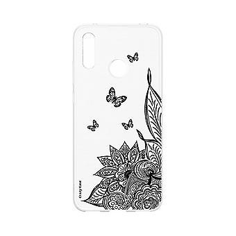 Runko huawei Y7 2019 joustava mandala kukka ja musta perhonen
