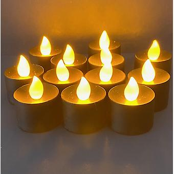 LED Flimrande Amber Tea Lights, jul, Halloween, Bordsdisplay, Flame Free