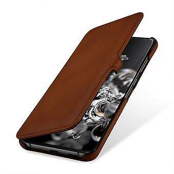 Case For Samsung Galaxy S20 Ultra Book Type Brown In True Leather With Clip