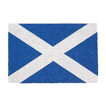 Nicola Spring Non-Slip Door Mat - Natural Coir Indoor Outdoor Welcome Mat - 60 x 40cm - Scotland Flag