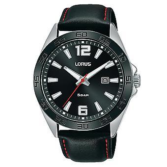 Lorus Męski czarny skórzany zegarek z polerowanym wykończeniem (RH915NX9)