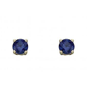 Elements Gold 9ct September Created Sapphire 4mm Stud Earrings GE2334