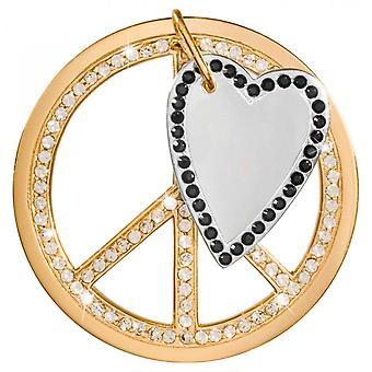 Nikki Lissoni Love Peace Dangle Grande Moeda Banhada a Ouro C1385GL