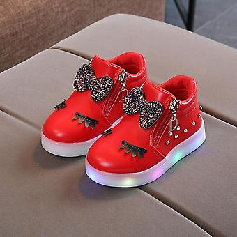 Children Glowing Sneakers Princess Bow Led Shoes, Cute Baby Sneakers With Light