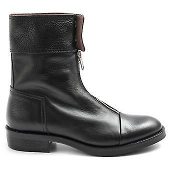 Kvinnors Le Bohemien svart blixtlås läder kängor