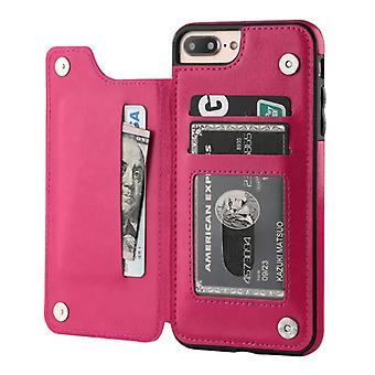 الاشياء المعتمدة® ريترو iPhone X الجلود الوجه محفظة حالة الوجه - محفظة غطاء كاس حالة الوردي