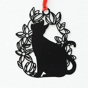 Black Cat Design Metal Bookmark (5.6*6.8cm)