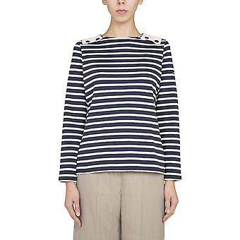 Saint James 892551 Women's White/blue Cotton Sweater