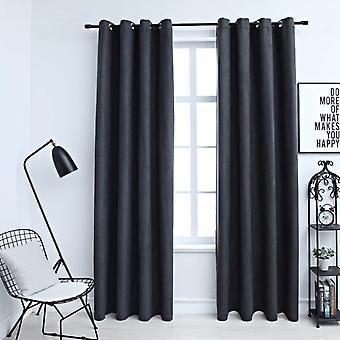 vidaXL Blackout curtains with metal detaches 2 pcs. anthracite 140x225cm