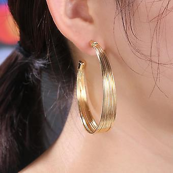 Earrings with gold plating large hoops wide