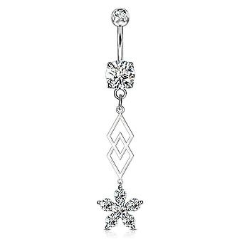 Belly button ring with six cz flower  dangle surgical steel 14g
