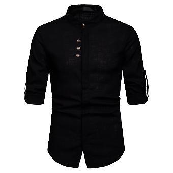 YANGFAN Men's Linho Stand-up Collar Três botões Camisa de manga comprida