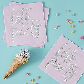Irisé permet partie papier serviettes Party Pack de 16 Birthday Party Disco