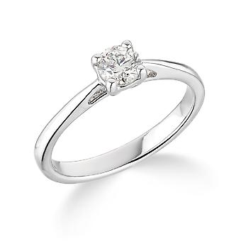 9K White Gold Tapered Shank 4 Claw 0.25Ct Certified Solitaire Diamond Engagement Ring