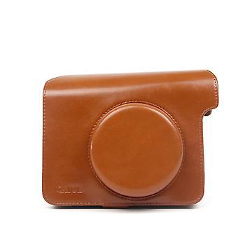 Polaroid W300 Kamera için Vintage PU Deri Kılıf Çantası, Ayarlanabilir Omuz Askısı (Kahverengi)