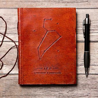 Diario de cuero hecho a mano Leo Zodiac