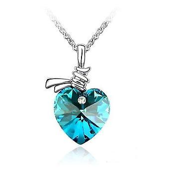 blå krystall kjærlighet hjerte anheng halskjede med swarovski elementer