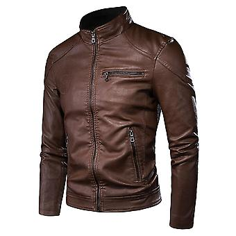 Men Spring New Motorcycle Causal Vintage Leather Jacket, Coat