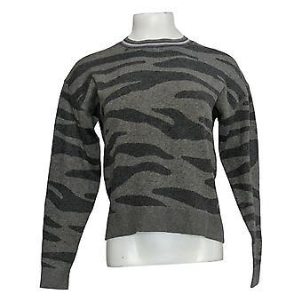 Splendid Women's Sweater Knit Animal Printed Pullover Gray