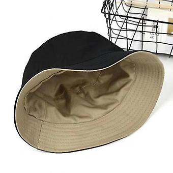Fashion Women Solid Color Flat Cotton Reversible Fisherman Sun Hat, Bucket Cap
