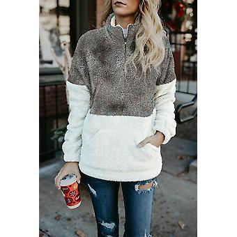 Talvi pörröinen fleece pullover collegepaita