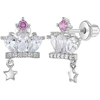 925 Sterling Silver White-Pink Cubic Zirconia Princess Crown Earrings Set