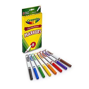 Marqueurs de formule d'origine Crayola, pointe fine, 8 couleurs classiques