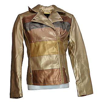 G.I.L.I. Women's Novelty Faux Leather Striped Jacket Yellow A350347