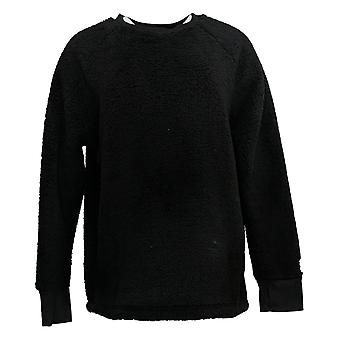 Cuddl Duds Women's Sweater Shaggy Sherpa Pullover Thumbhole Black A38180