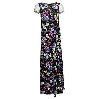 Attitudes By Renee Dress Regular Printed Maxi W/ Cardigan Black A306555