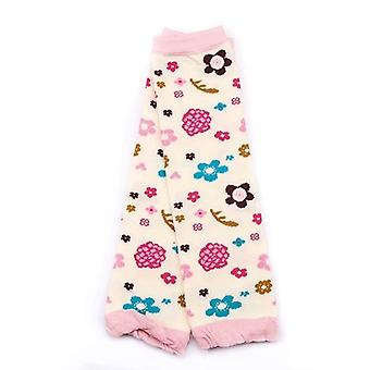 Tecknade mjuka strumpor, krypande knäkuddar - Nyfödda blommönster vinterben