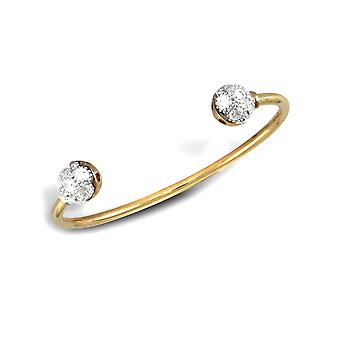 Jewelco London Baby Solid 9ct Yellow and White Gold White Round Brilliant Cubic Zirconia Collared Torque Bangle Bracelet