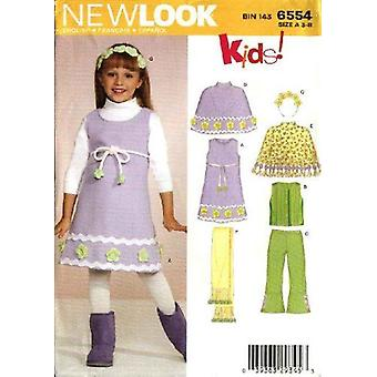 New Look Sewing Pattern 6554 Girls Child Poncho Dress Top Pants Size 3-8